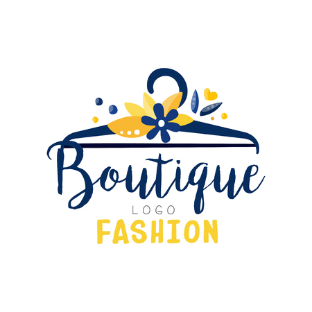 Fashion boutique logo, clothes shop, dress store creative label vector Illustration