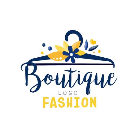Logo butiku mody, sklep z ubraniami, sklep z suknią kreatywna etykieta wektor ilustracja