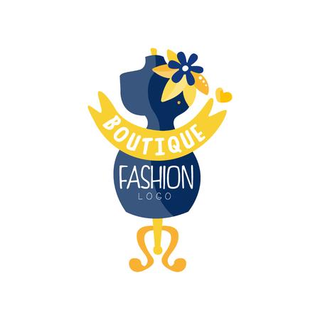 Fashion boutique logo design, clothes shop, beauty salon, dress store creative label vector Illustration