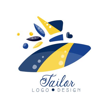 Schneider-Logo-Design, Schneidersalon, Nähstudio, Kleiderboutique, Geschäft, Shop-Label-Vektor Illustration