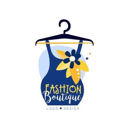 Fashion boutique logo design, clothes shop, beauty salon, dress store label vector Illustration