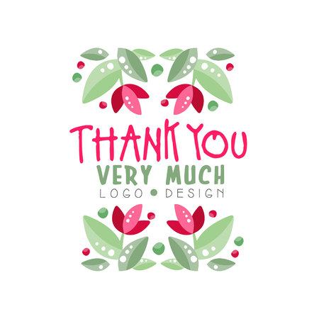 Grazie mille logo design, biglietto di auguri, banner, invito con scritte, etichetta con elementi floreali illustrazione vettoriale