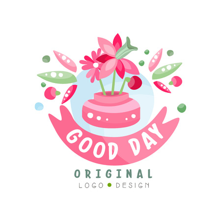 Good Day logo original, design element can be used for print, card, banner, poster, invitation vector Illustration