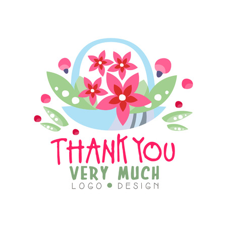 Thank You Very Much logo design, holiday card, banner, invitation with lettering, colorful label with floral elements vector Illustration