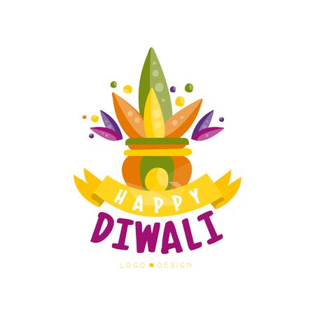 Happy Diwali colorful logo design, festival of lights label, poster, invitation, flyer, greeting card template vector Illustration