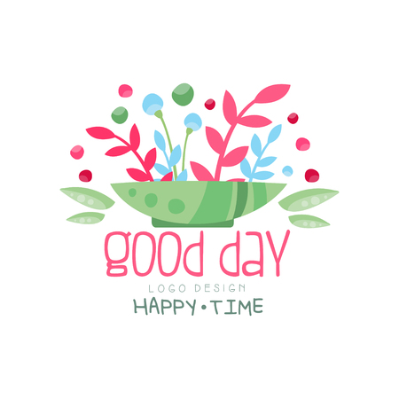 Good Day, Happy Time logo, design element can be used for print, card, banner, poster, invitation, colorful label with flowers vector Illustration
