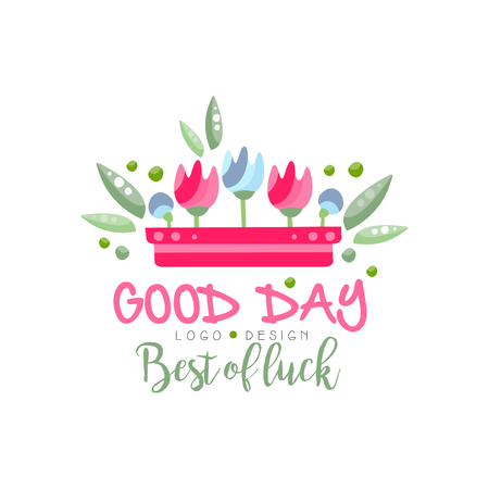 Good Day, Best of Luck logo, design element can be used for print, card, banner, poster, invitation vector Illustration Stockfoto - 115658134