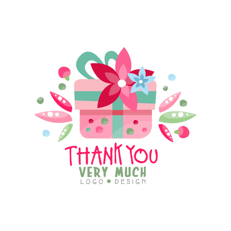 Thank You Very Much logo design, holiday card, banner, invitation with lettering, colorful label in pink colors with floral elements vector Illustration