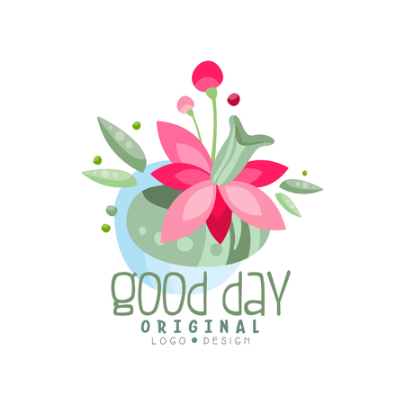 Good Day logo, design element can be used for print, card, banner, poster, invitation, colorful label with flowers vector Illustration