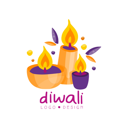 Diwali colorful logo, Hindu festival label, poster, invitation, flyer, greeting card hand drawn vector Illustration