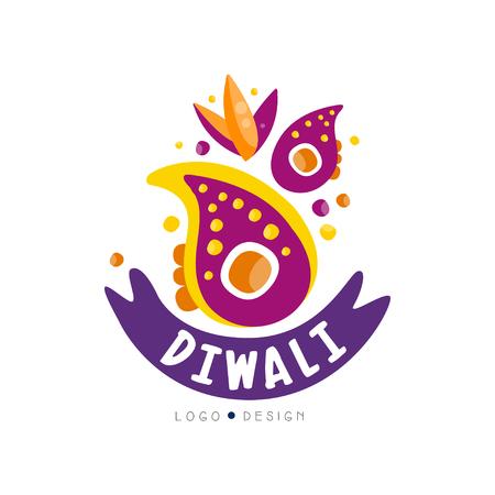 Diwali logo design, Hindu festival label, poster, invitation, flyer, greeting card hand drawn vector Illustration i Illustration