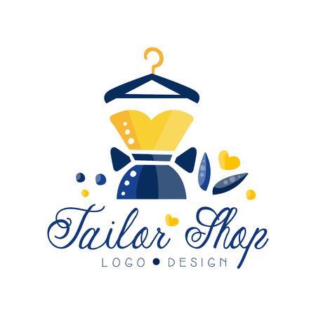 Logo del negozio di sartoria, salone dei sarti, studio di cucito, emblema dello stilista, boutique di abiti, illustrazione vettoriale del negozio Logo