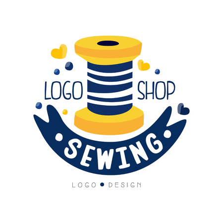 Sewing shop logo design, dress boutique, store label, dressmakers salon, tailoring studio vector Illustration