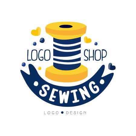 Sewing shop logo design, dress boutique, store label, dressmakers salon, tailoring studio vector Illustration