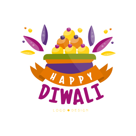 Happy Diwali colorful logo design, Hindu festival label, poster, invitation, flyer, greeting card template hand drawn vector Illustration