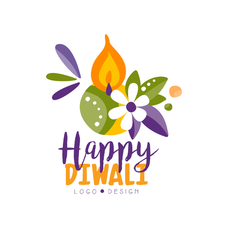 Happy Diwali colorful logo, Hindu festival label, poster, invitation, flyer, greeting card hand drawn vector Illustration