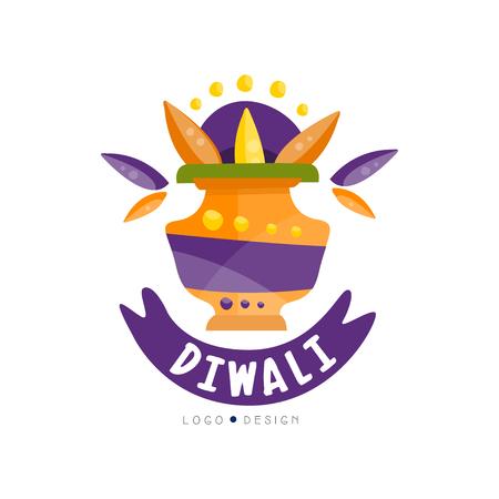 Diwali logo design, Hindu festival label, poster, invitation, flyer, greeting card template vector Illustration