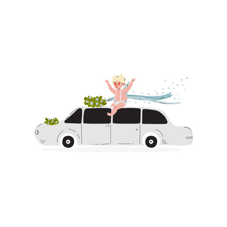 Cute Cupid Sitting on Wedding Retro Car, Amur Baby Angel, Happy Valentine Day Symbol Vector Illustration Isolated on White Background.
