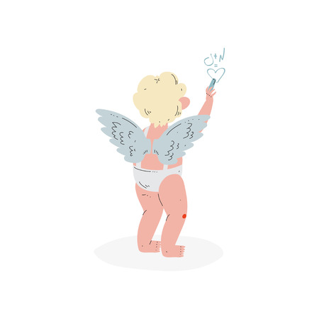 Cute Funny Cupid Writing Formula of Love, Amur Baby Angel, Happy Valentine Day Symbol Vector Illustration Isolated on White Background.