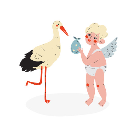 Cute Cupid Giving Baby to Stork, Amur Baby Angel, Happy Valentine Day Symbol Vector Illustration Isolated on White Background.