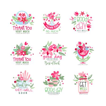 Grazie, buona giornata, Get Well logo design set, biglietto di auguri, banner, invito con scritte, etichetta colorata con elementi floreali vector Illustration