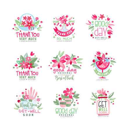 Thank You, Good Day, Get Well logo design set, holiday card, banner, invitation with lettering, colorful label with floral elements vector Illustration  イラスト・ベクター素材