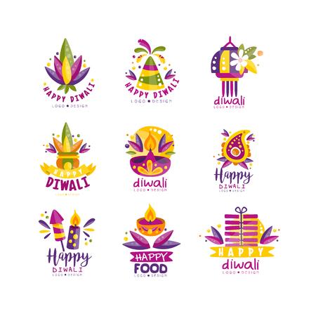 Happy Diwali logo design set, Hindu festival of lights labels, poster, invitation, flyer, greeting card templates vector Illustration