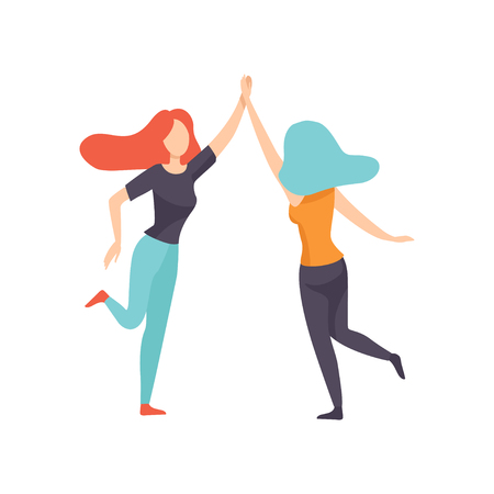 Two Happy Women Friends Giving High Five,Happy Meeting, Female Friendship Vector Illustration on White Background