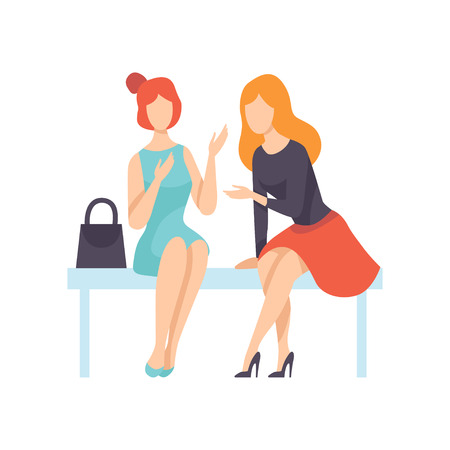 Two Beautiful Women Friends Sitting on Bench and Talking, Female Friendship Vector Illustration on White Background Illustration