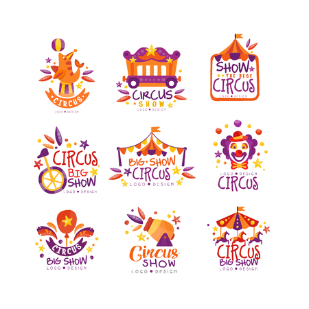 Big circus show logo design set, carnival, festive labels, badges, hand drawn design elements an be used for flyear, poster, banner, invitation vector Illustration Stok Fotoğraf - 116118816