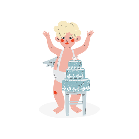Cute Funny Cupid and Wedding Cake, Amur Baby Angel, Happy Valentine Day Symbol Vector Illustration Isolated on White Background.