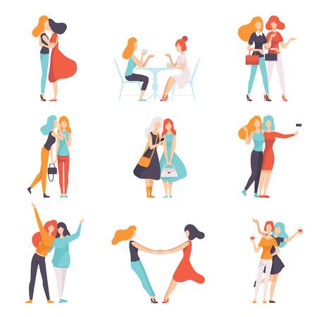Schöne Frauen-Freunde, die gute Zeit zusammen verbringen, Satz, glückliches Treffen, weibliche Freundschaft-Vektor-Illustration auf weißem Hintergrund Vektorgrafik