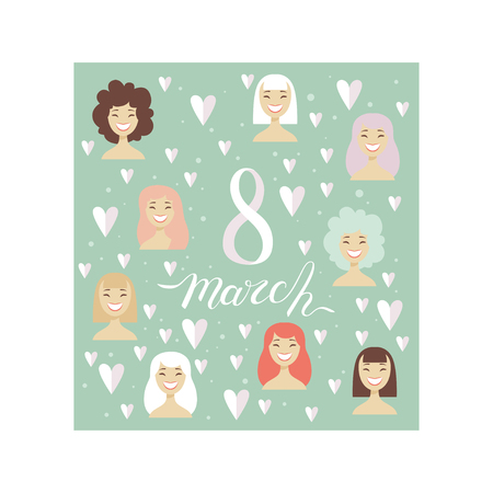 8 March Greeting Card with Smiling Women, Party Invitation, Festive Banner, Spring or Summer Design Vector Illustration on White Background. Standard-Bild - 125867233