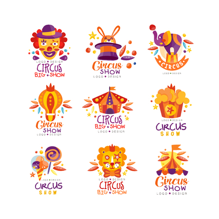 Circus show logo design set, carnival, festive, circus show labels, badges, hand drawn design elements an be used for flyear, poster, banner, invitation vector Illustration