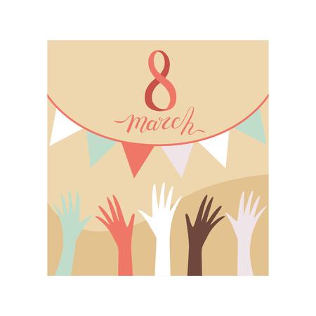 8 March Greeting Card, Party Invitation, Festive Banner Vector Illustration on White Background. Standard-Bild - 125867235