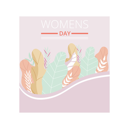 Womens Day Greeting Card with Floral Elements in Pastel Colors, Party Invitation, Festive Banner, Spring or Summer Design Vector Illustration on White Background. Standard-Bild - 125867237