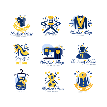 Tailor shop, fashion store logo design set, dress boutique, dressmakers salon, tailoring studio, designer emblem vector Illustration