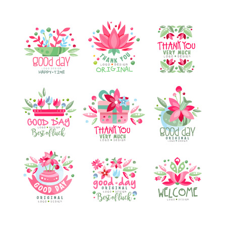 Thank You, Good Day, Welcome logo design set, card, banner, invitation with lettering, colorful label with floral elements vector Illustration  イラスト・ベクター素材