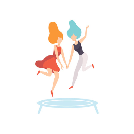 Two Happy Women Friends Jumping on Trampoline, Female Friendship Vector Illustration on White Background