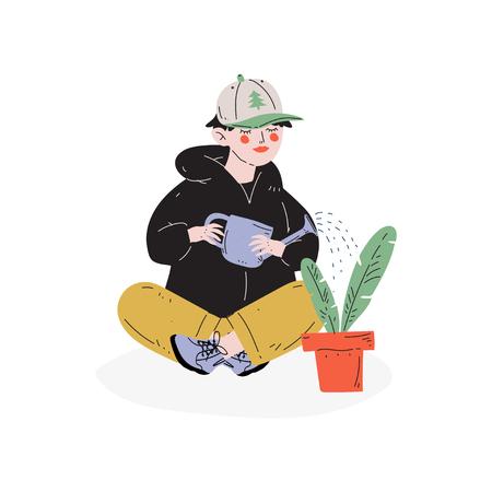 Boy Watering Houseplant, Hobby, Education, Creative Child Development Vector Illustration