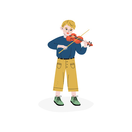Boy Playing Violin, Talented Little Musician Character, Hobby, Education, Creative Child Development Vector Illustration on White Background