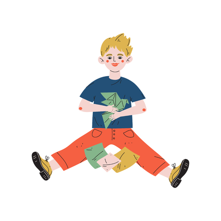 Boy Sitting on Floor and Making Origami, Hobby, Education, Creative Child Development Vector Illustration on White Background Standard-Bild - 125835168