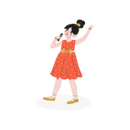 Girl Singing with Microphone, Talented Little Singer Character, Hobby, Hobby, Education, Creative Child Development Vector Illustration on White Background 일러스트