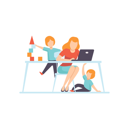 Young Mother Working at Home on Laptop Computer, Her Sons Playing Next to Her, Freelancer, Parent Working with Children, Mommy Businesswoman Vector Illustration Isolated on White Background.