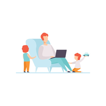 Father Working on Laptop Computer While Sitting on Sofa at Home, His Sons Playing Next to Him, Freelancer, Parent Working with Children, Vector Illustratio