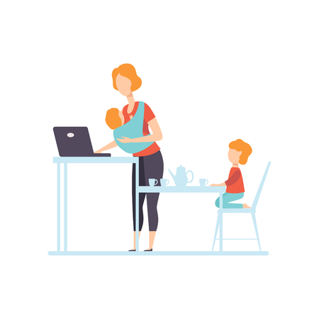 Young Mom with Baby in Sling Working on Laptop Computer, Her Oldest Daughter Playing Next To Her, Freelancer, Parent Working with Child, Mommy Businesswoman Vector Illustration Isolated on White Background.