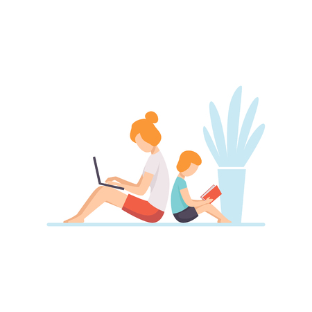 Young Mother Lying on Floor and Working on Laptop Computer, Her Son Sitting Next to Her and Reading, Mother and Son Seated Back to Back, Freelancer, Parent Working with Child Vector Illustration Isolated on White Background. Stock Illustratie
