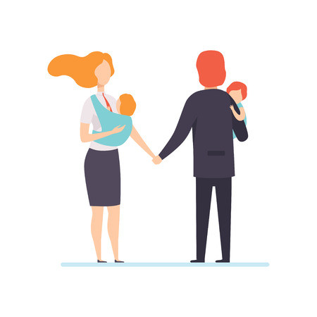 Parents in Business Clothes Standing and Holding Hands with Little Children on Their Hands, Freelancers, Parents Working with Kids, Mother and Father Businesspeople Vector Illustration Isolated on White Background Stock Illustratie