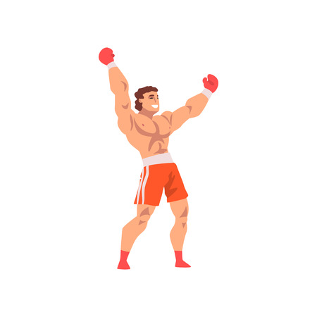 Muscular Boxer Raising His Fists Up, Male Athlete Character in Sports Uniform, Active Sport Healthy Lifestyle Vector Illustration on White Background.  イラスト・ベクター素材