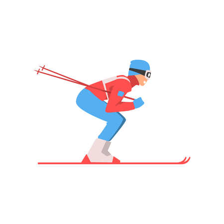 Skiing Sportsman, Male Athlete Character in Sports Uniform and Goggles, Active Sport Healthy Lifestyle Vector Illustration on White Background. Stock Illustratie